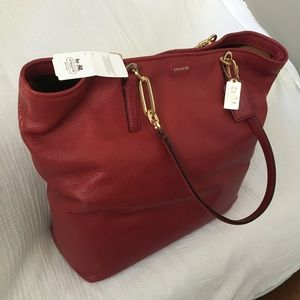 COACH Madison Leather North South Tote in RED